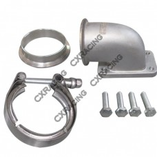 """2.5"""" Vband T3 Turbo Stainless 90 Degree Elbow Adapter Flange 304 SS Cast + Clamp"""
