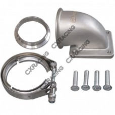 """3"""" Vband T4 Turbo Stainless 90 Degree Elbow Adapter Flange 304 SS Cast + Clamp"""