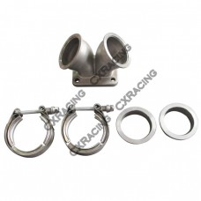"""2.5"""" Vband to T4 Dual Inlet Turbo Elbow Twin Scroll Divided Adapter Flange"""