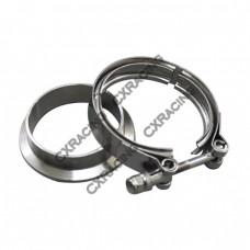 """2.0"""" V-Band Clamp + 2.0"""" I.D. Flange , 304 Stainless Steel , CNC Billet Flange"""