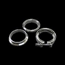 """2.5"""" V-Band Clamp + 2.5"""" I.D. Flanges (2 Flanges) , 304 Stainless Steel , CNC Billet Flange"""