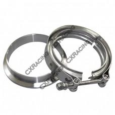 """3"""" V-Band Clamp + 3"""" I.D. Flange , 304 Stainless Steel , CNC Billet Flange"""