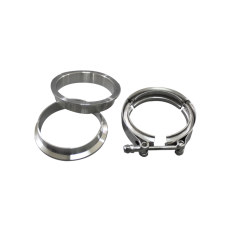 """3"""" V-Band Clamp + 3"""" I.D. Flanges (2 Flanges) , 304 Stainless Steel , CNC Billet Flange"""