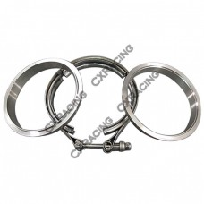 """3.5"""" Self Aligning V-Band Clamp Flange Kit Turbo Exhaust Stainless"""