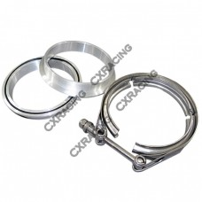 """4.0"""" Stainless Steel V-Band Clamp + 4.0"""" I.D. Aluminum Flanges (2 Flanges) with O-ring seal"""