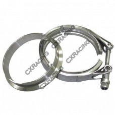 """4"""" V-Band Clamp + 4"""" Downpipe Flange , Stainless Steel, CNC Machined Flange"""