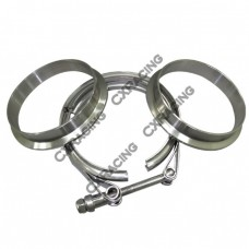 """4"""" V-Band Clamp + 4"""" Downpipe Flange (2 Flanges), Stainless Steel, CNC Machined Flange"""
