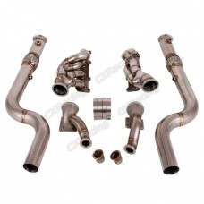 Bottom Mount Twin Turbo Header Downpipe Kit For 2015+ Ford Mustang GT 5.0
