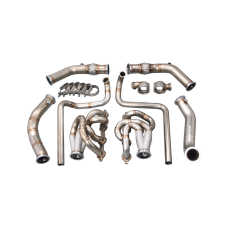 Twin Turbo Manifold Headers Downpipe Kit for 94-04 Chevrolet S-10 S10 Truck LS1