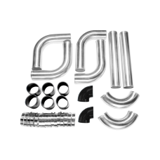 "2.5"" AL.8PCS Turbo Intercooler With Pipe 120 Degree Piping Kit for Toyota Lexus"
