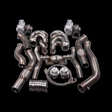 Twin Turbo Manifold Header Downpipe Kit For 64-67 Chevelle BBC Big Block 396 402 427 454