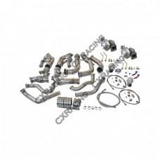 Twin Turbo Kit For 63-67 Chevrolet Chevelle Nova SBC V8 Header Downpipe